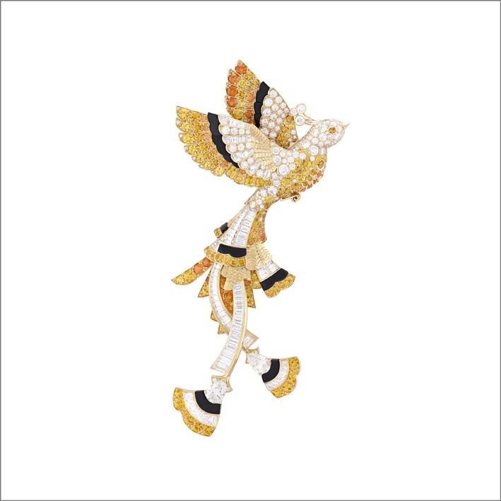 Clip Oiseau d'or Zaffiri gialli, granati varietà spessartite, onice, diamanti