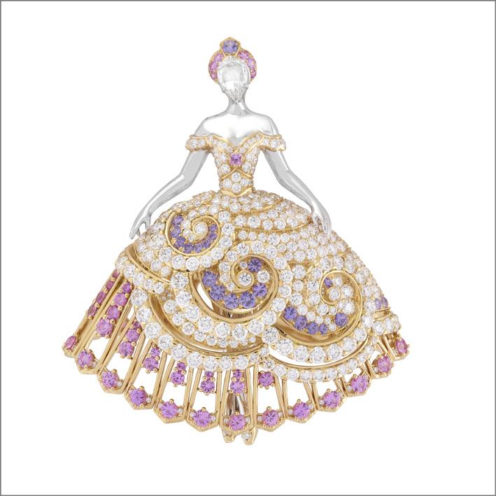 Clip Princesse Éos. Zaffiri rosa e malva, diamanti