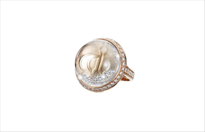 Anello della collezione Lyra in oro rosa e diamanti