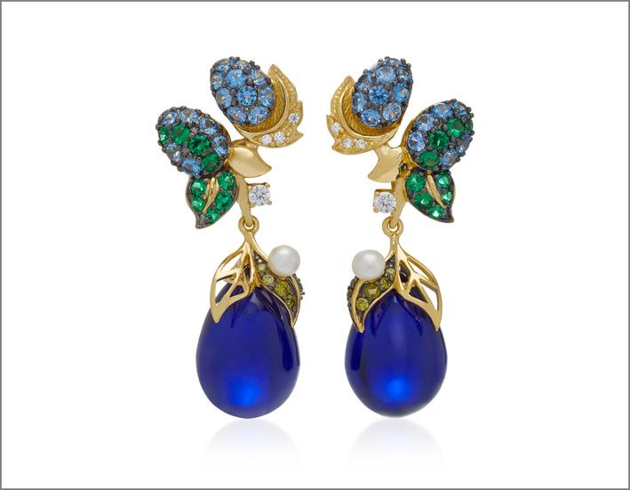 Orecchini Nightberry, vermeil, oro 18 carati, diamanti bianchi e gialli, perle d'acqua dolce,