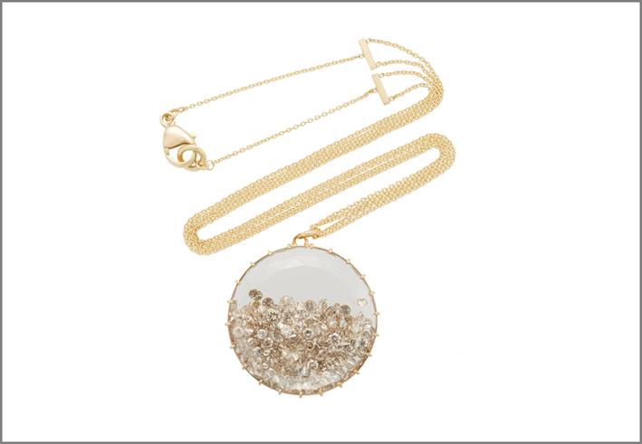 Collana in oro con diamanti, collezione Shake