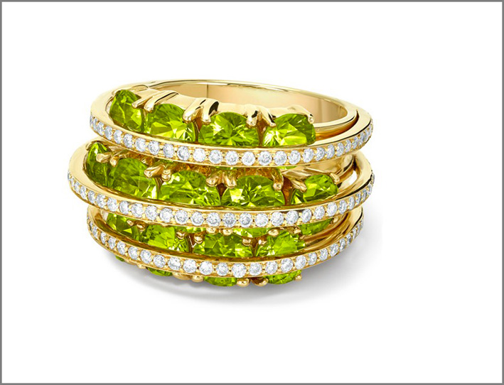 Anello Santa Rosalia, oro, diamanti, peridoto