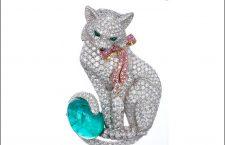 Spilla di Fabergé con diamanti, zaffiri rosa e tormalina