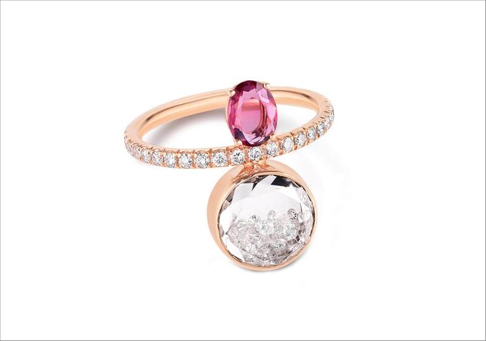 Anello con zaffiro rosa e diamanti