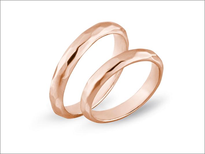 Comete, anelli della collezione Farfalle in oro rosa