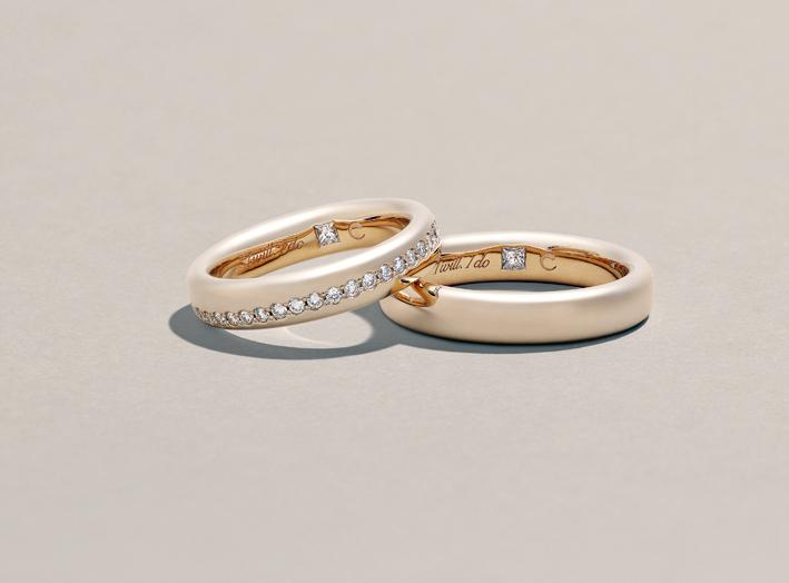 Crivelli, anelli in oro rosa con diamanti