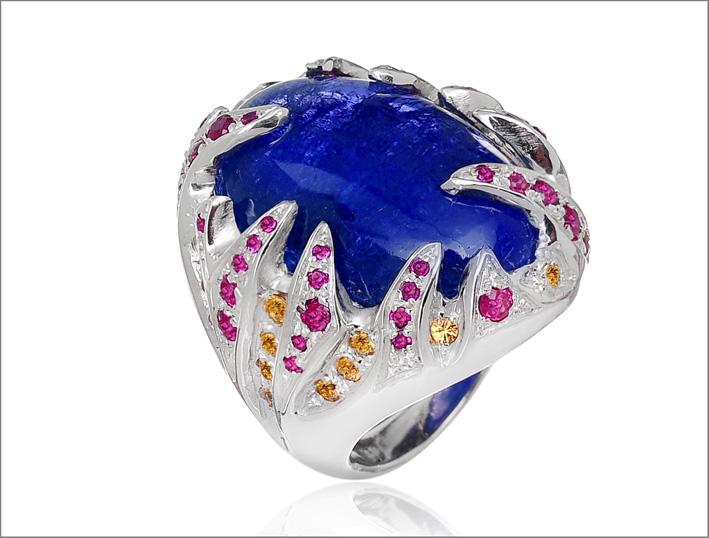 Botta gioielli, anello con tanzanite, rubini e zaffiri gialli