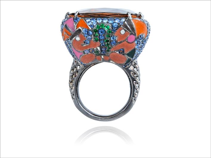 Ring 18 k gold 25.35 gr, 4, diamonds 0.03 ct, 94 brown diamonds 1.56 ct, 263 fancy sapphires 4.11 cts, 14 tsavorites 0.03 gr