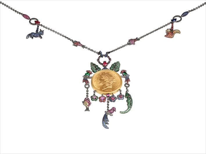 Necklace 18 k gold 87.59 grs, 55 white diamonds 0.69 ct, 190 brown diamonds 1.90 ct, 243 rubys 6.33 cts, 955 sapphires 14.68 cts, 292 tsavorites 1.03 gr