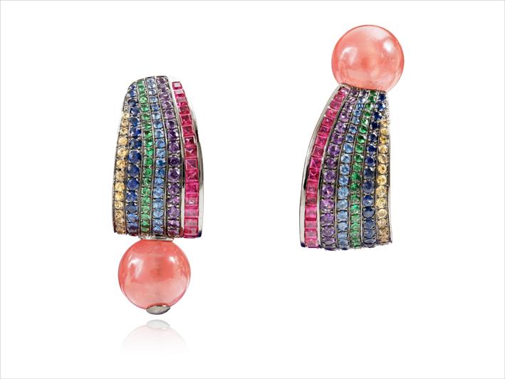 Earrings 18 k gold 14.96 grs, 35 rubies 2.69 cts, 135 fancy sapphires 1.98 ct, 2 rhodocrosites 4.70 grs, 40 tsavorites 0.11 gr, 31 amethysts 0.15 gr