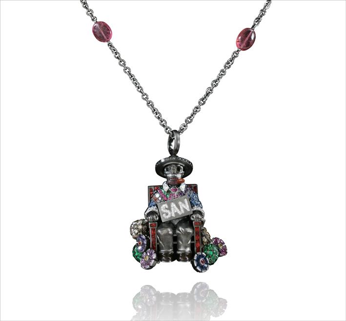 Necklace San Simon, gold 67.50 grs, 43 black diamonds 0.41 ct, 87 white diamonds 0.65 ct, 60 brown diamonds 1.75 ct, 225 blue and fancy saphirs 11.57 cts, 20 rubys 0.28 ct, 16 amethystes 0.39 gr, 108 tsavorites 1.28 gr, 10 pink turmalins 4.36 grs