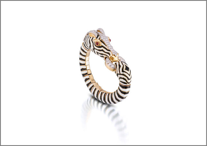 Bracciale zebra con diamanti, rubini e smalto di David Webb