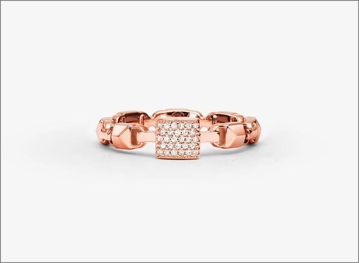 Anello Mercer Link in argento sterling placcato oro rosa e zirconi