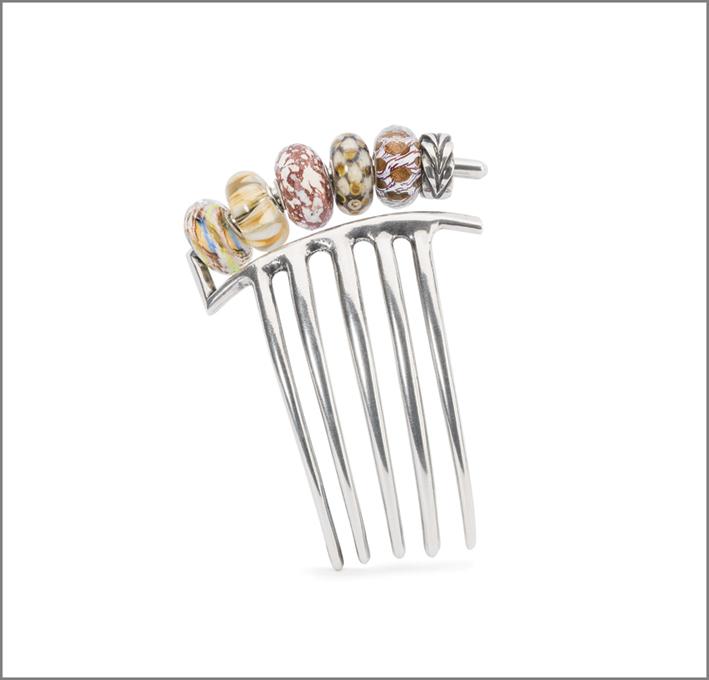 Pettine per capelli in argento e beads di vetro
