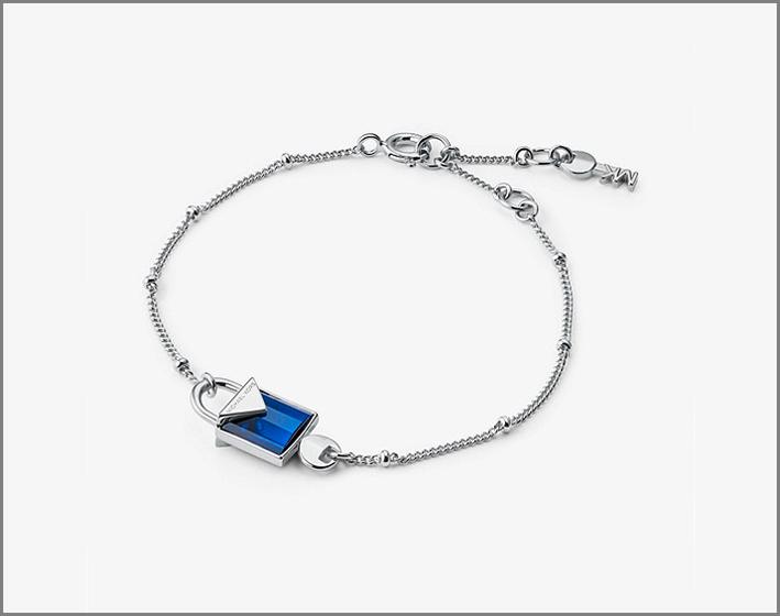 Michael Kors, bracciale in argento sterling con quarzo blu