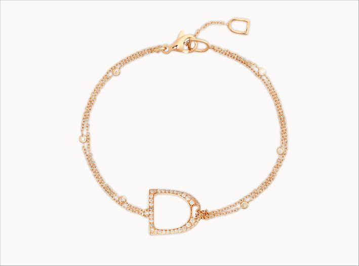 Bracciale in oro rosa con diamanti