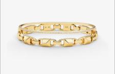 Bracciale in argento sterling placcato oro giallo e zirconi