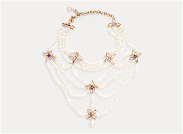 Collana multi filo con perle e cristalli