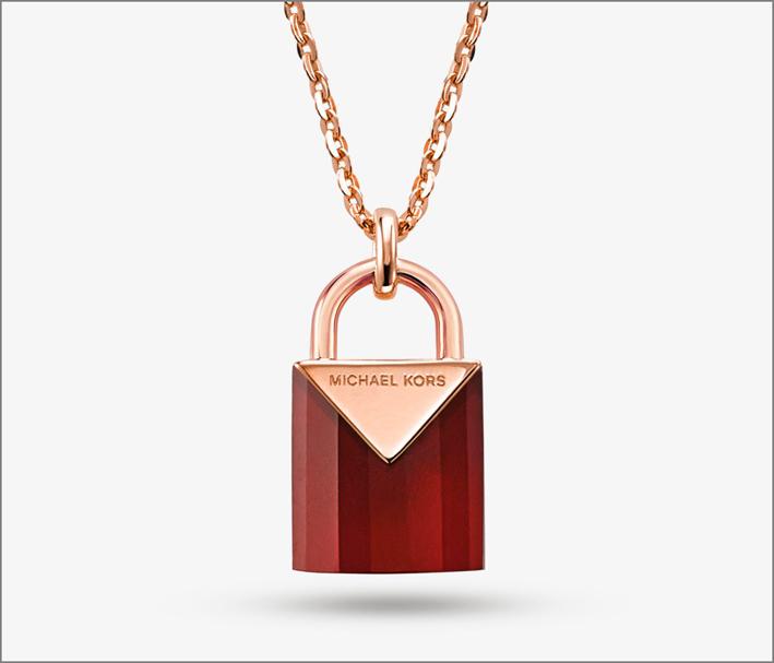 Michael Kors, bracciale in argento sterling placcato oro rosa con quarzo rosso