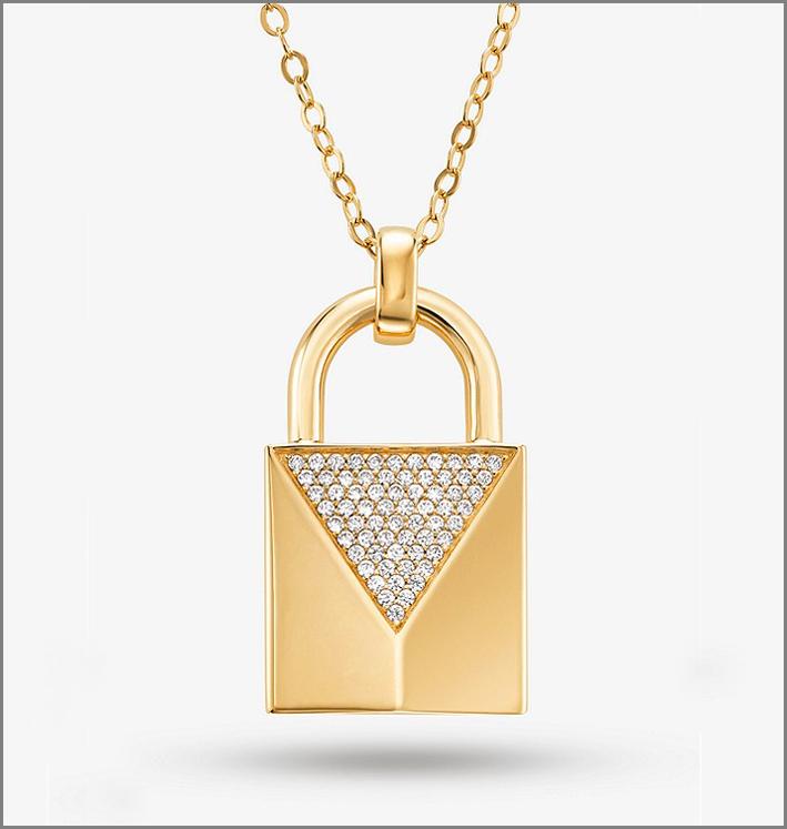 Lucchetto in argento sterling placcato oro giallo e zirconi