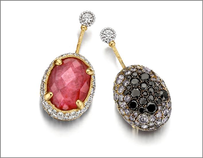 Nanis, orecchini con diamanti bianchi e neri, rubino