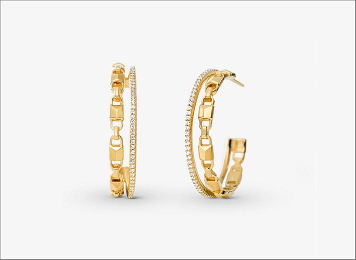 Orecchini a cerchio in argento sterling placcati oro giallo e zirconi