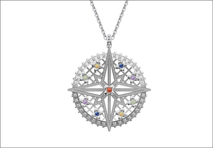 Rosato, collana con pendente in argento con corniola, malachite, ametista, avventurina, lapislazzuli