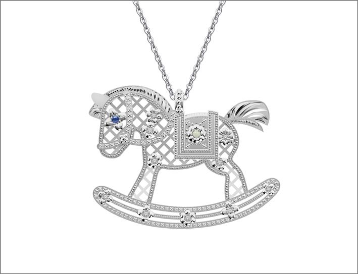 Collana cavallo a dondolo in argento e zirconi