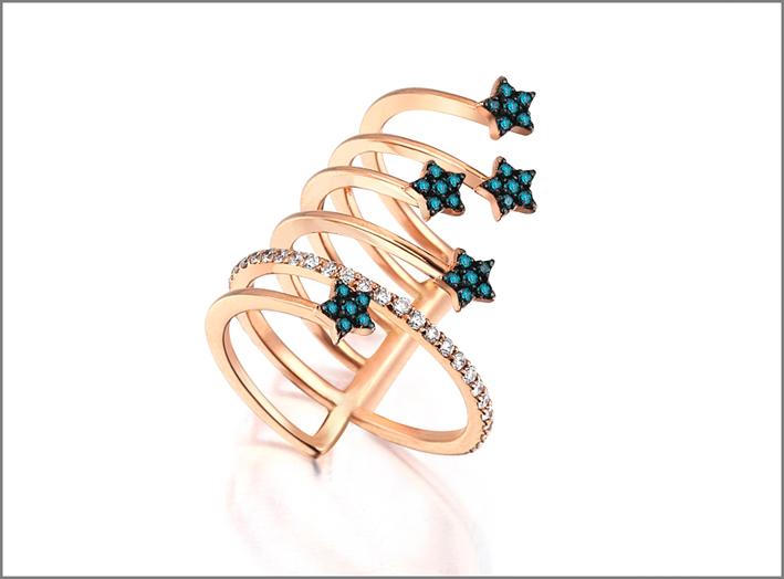Anello in oro rosa con stelle