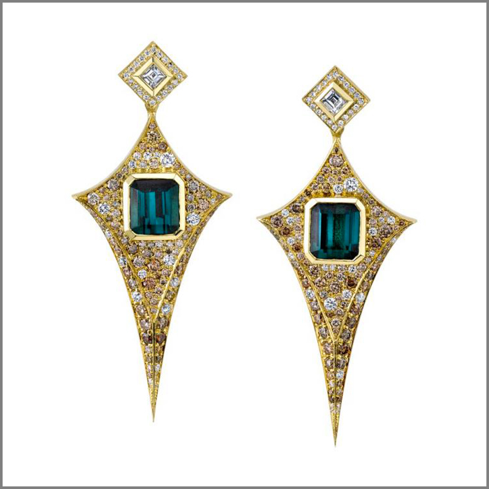 Unique earrings, oro e tormaline