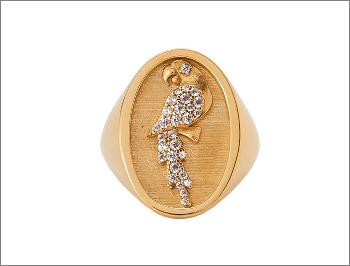 Anello chevalier in argento placcato oro