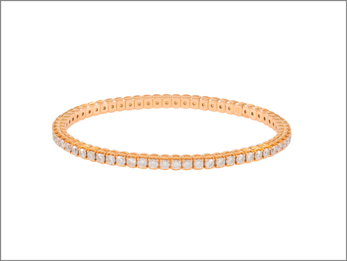 Pisa Diamanti, bracciale tennis in oro rosa e diamanti