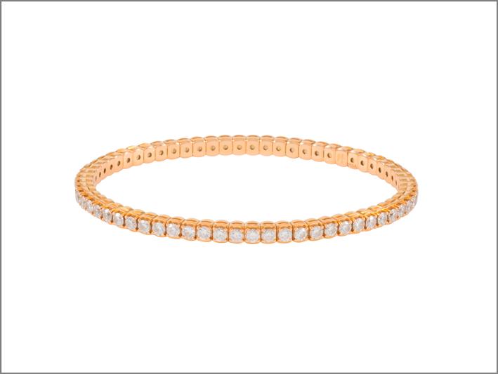 Pisa Diamanti, bracciale tennis in oro rosa e diamanti