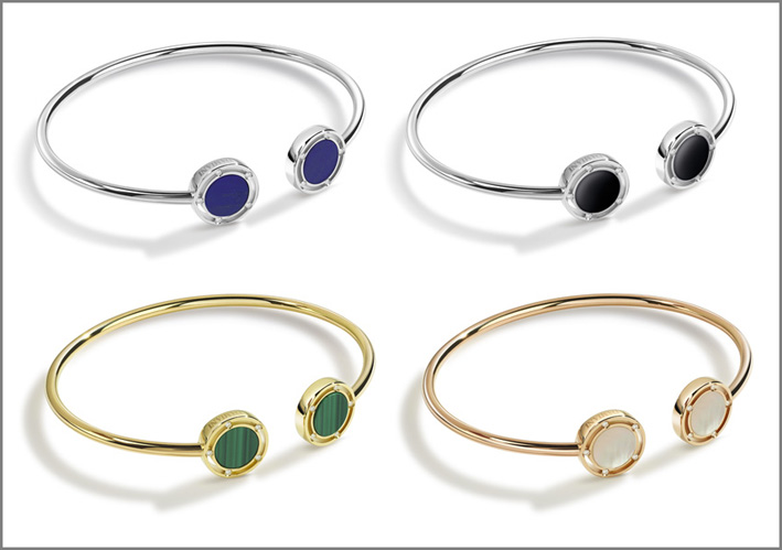 Bracciali in oro bianco, lapislazzuli, malachite, lapislazzuli, madreperla e diamanti