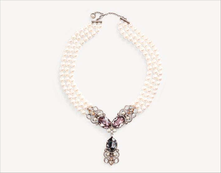 Ralph Lauren, collana con perle e cristalli