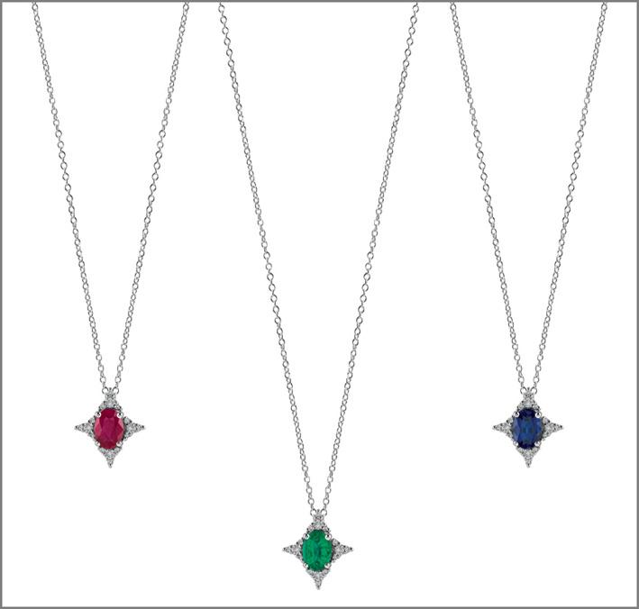 Collane della collezione Luminosa con rubino, smeraldo, zaffiro e diamanti