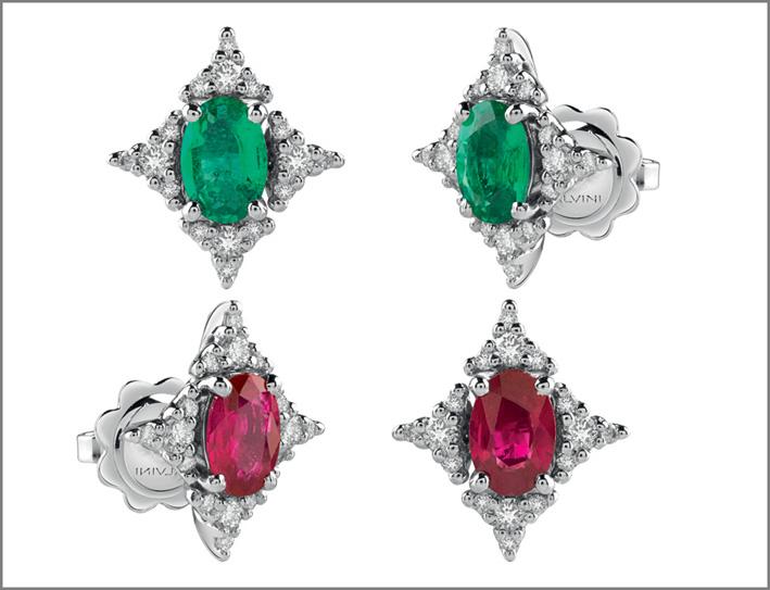 Orecchini rubini e smeraldi