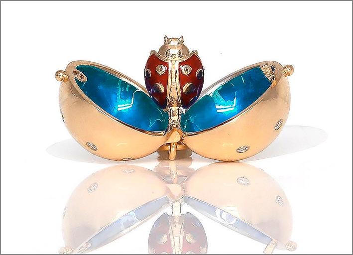 Pendente Sphere in oro, diamanti, smaldo
