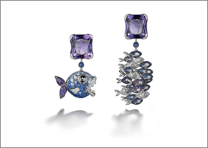 Orecchini in oro con ametiste, zaffiri e diamanti di de Grisogono