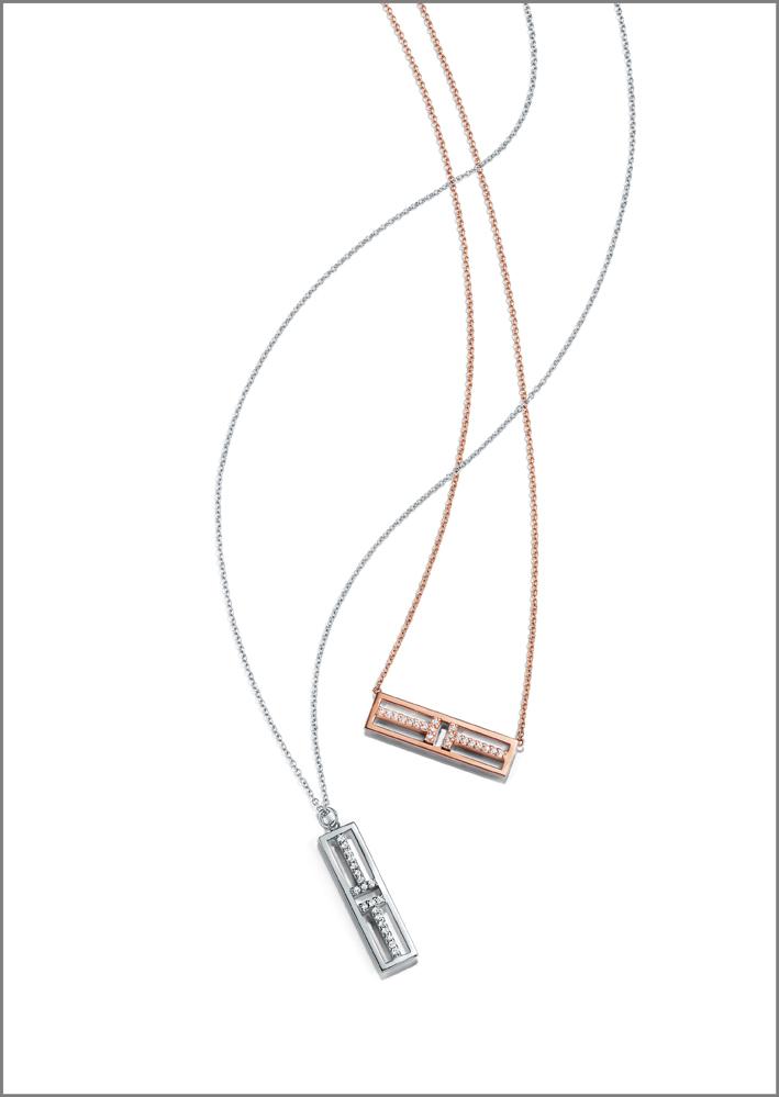 Collana con pendenti in oro rosa e bianco