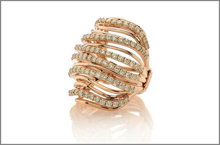 Armonie, anello oro rosa, diamanti