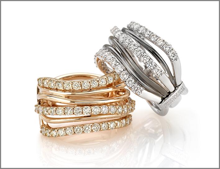 Anello oro rosa, diamanti. Anello oro bianco, diamanti