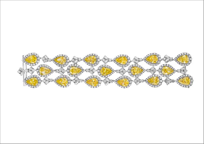 Bracciale in argento rodiato con Burmalite bianca e gialla
