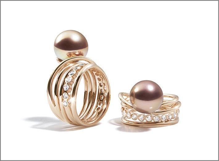 Anelli Calypso, in oro rosa e perle rosse