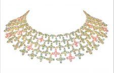 Collana in argento placcato oro rosa con Bormalite pastello