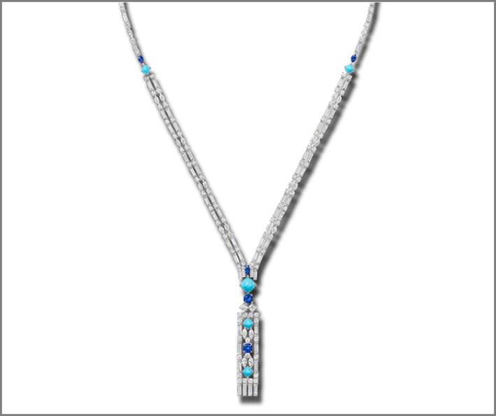 Collana con diamanti con taglio a baguette,  brillante, marquise, con smeraldi, acquamarina e zaffiri