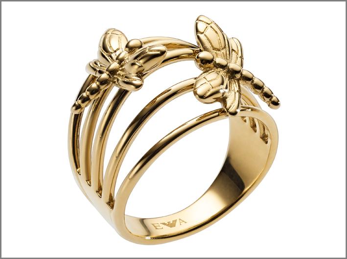 Emporio Armani, anello con libellule