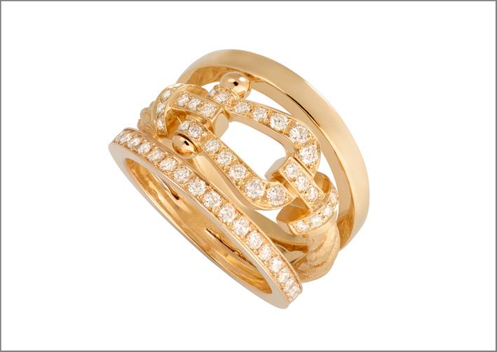 Anello in oro giallo e diamanti della collezione Force 10