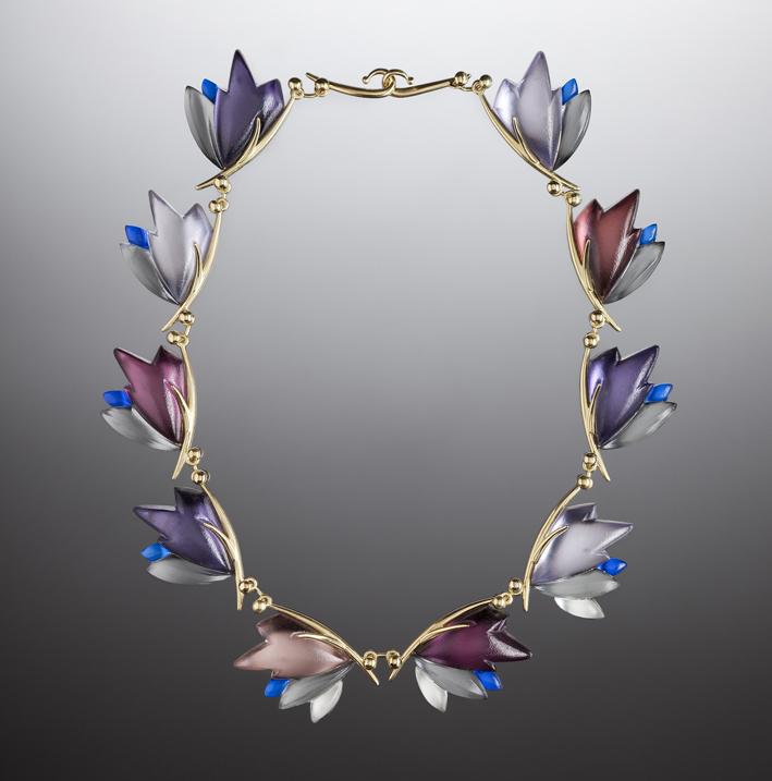 Linda MacNeil, Bouquet necklace Floral series, vetro e oro 18 carati