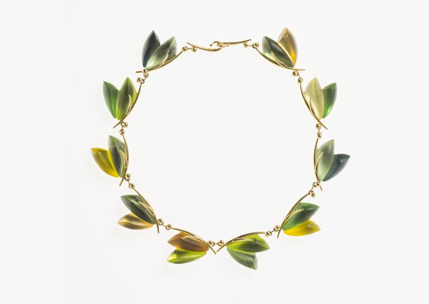 Linda MacNeil, Bouquet necklace, vetro e oro 18 carati